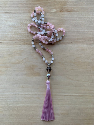 Amiata Rose Quartz crystal mala necklace