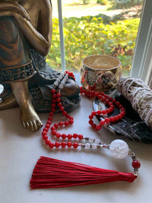 BARU Ruby Chalcedony and Quartz Crackle Mala necklace