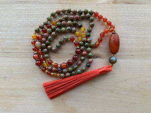 BOLA Unakite Mala Necklace for meditation