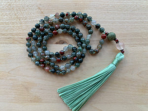 CABALIAN Bloodstone Mala Necklace for meditation