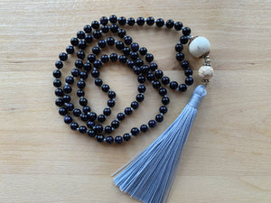 CANABOLAS Blue Goldstone Mala Necklace for meditation