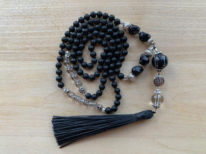 CINDER Mala necklace with Black Onyx and Clear Quartz