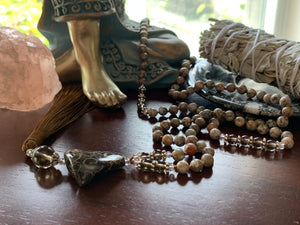 CORVO Fossil Agate Mala Necklace