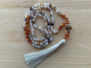 IRAZU Bamboo Agate mala necklace