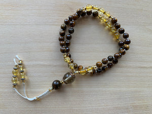 Yellow Tiger's Eye stone half-mala