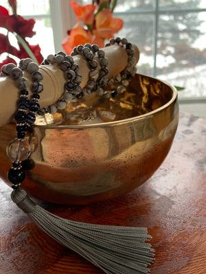 KISKA Black silk gemstone mala necklace for meditation