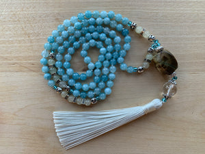 LAGUNA Blue Chalcedony and Serpentine Mala necklace
