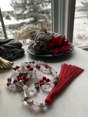 Noel Mala necklace with White Jade, Jasper and Magnesite