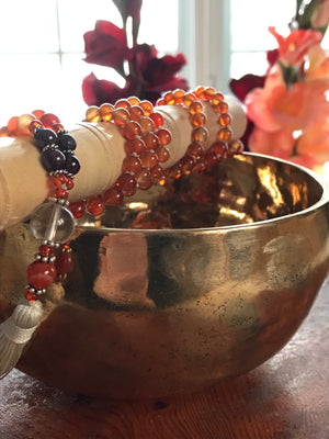 Carnelian stone mala necklace for meditation