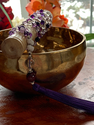 Purple Fluorite stone mala necklace for meditation