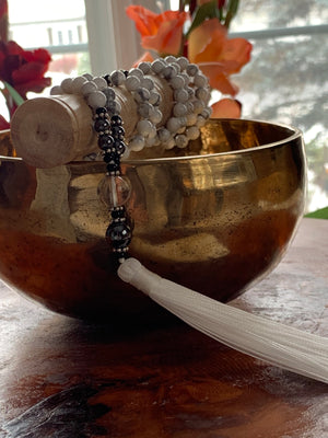 White Howlite stone mala necklace for meditation