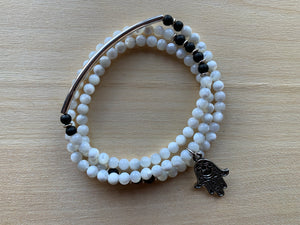 NUELTIN Mother-of-Pearl Mala Twist Bracelet