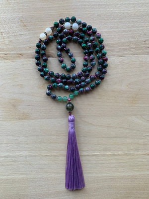 PACAYA Ruby Zoisite Mala Necklace for meditation