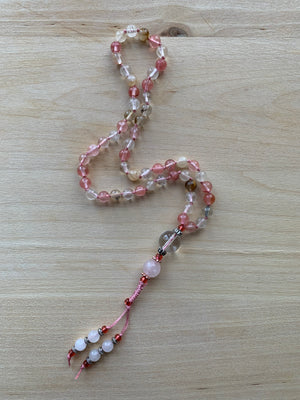 Fire Cherry Quartz stone half-mala