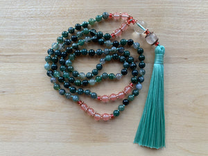 SAVO Moss Agate stone mala necklace for meditation