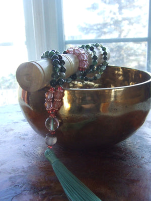 Moss Agate stone mala necklace for meditation