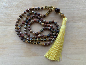 SILALI Leopardskin and Smokey Quartz gemstone Mala