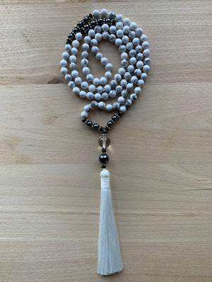 TANA White Howlite stone mala necklace for meditation