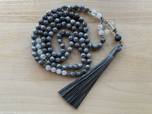 TENORIO Grey Picture Jasper Mala Necklace