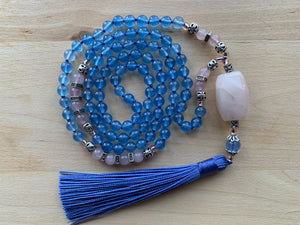 TICSANI Blue Chalcedony and Rose Quartz Mala necklace