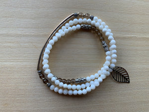 TOBA Mother-of-Pearl mala twist bracelet