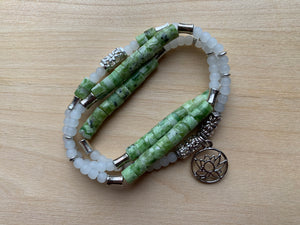 Wollaston Mala Twist bracelet with Green Zebra Jasper