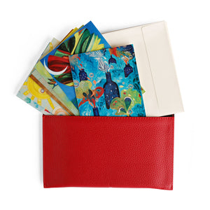 Art Cards in Red Leatherette Envelope