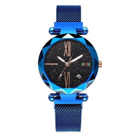 2019 Korean Magnet Watch - Ver.2 Luminous+Date 4041 Blue Mesh Strap