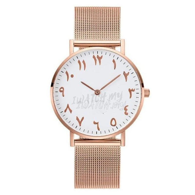 Arabic Number Watch 2987 Rosegold Mesh Strap
