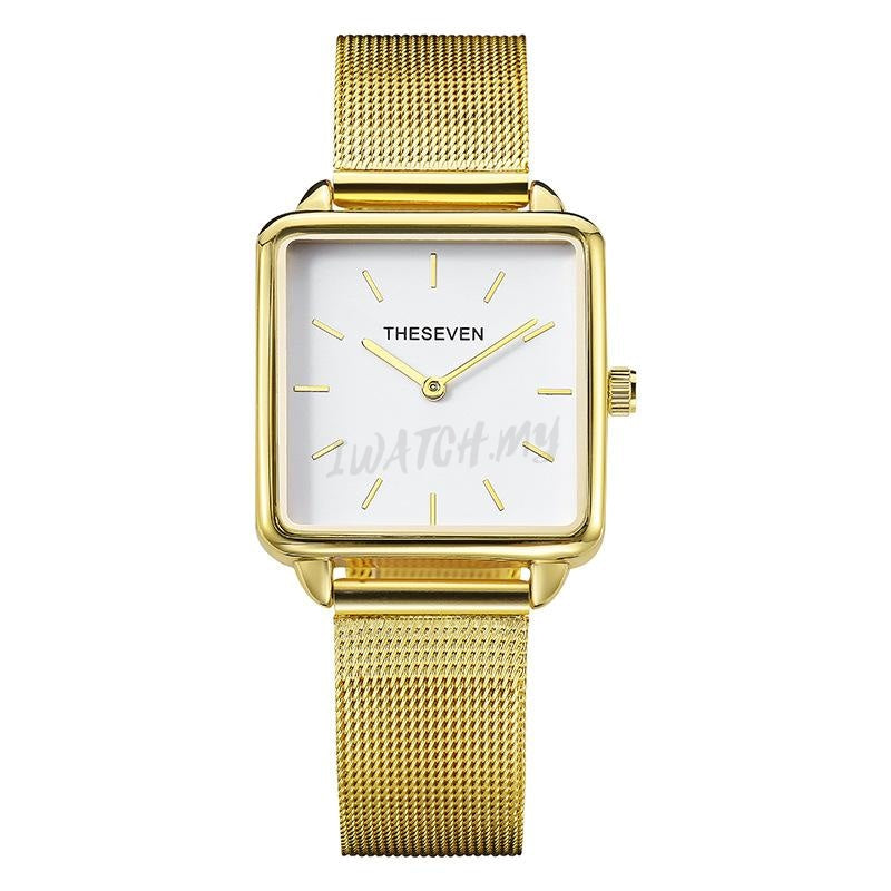 Classic Square Watch 4406 Gold Mesh Strap