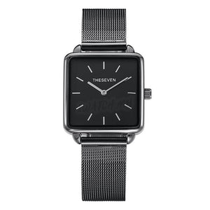 Classic Square Watch 4406 Black Mesh Strap
