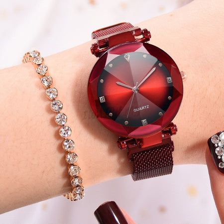 Korean Diamond Magnet Watch 4505 Mesh Strap