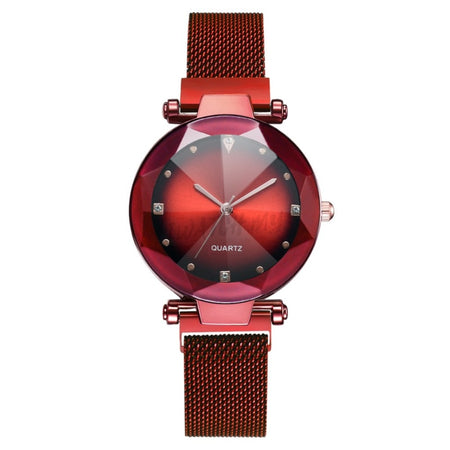 Korean Diamond Magnet Watch 4505 Red Mesh Strap