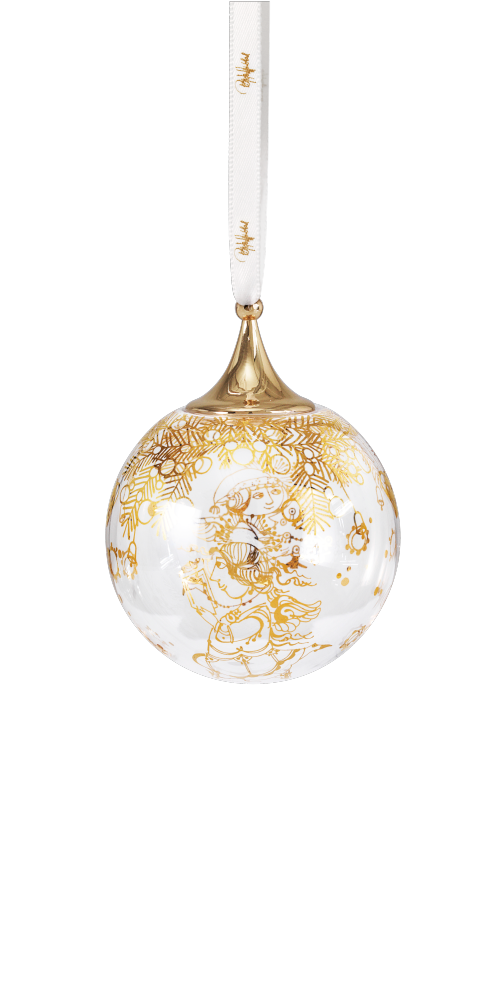 Christmas ornament Ball- Mouth blown glass with gold
