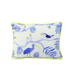 Pantanal Decorative Pillowcase - Blue and and Yellow Toucans on White