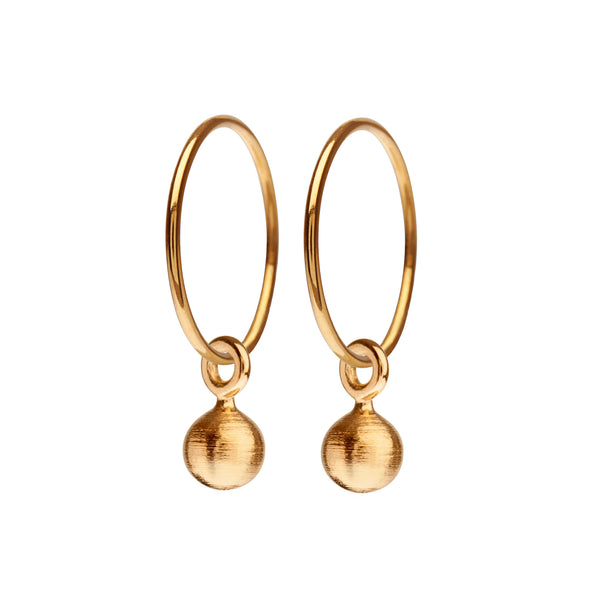 Gold hoop earrings with pendant orb
