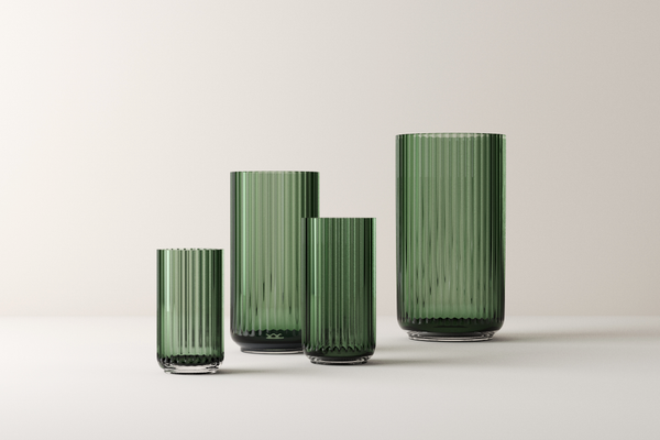 Lyngby mouth-blown glass vase Green