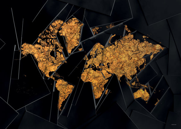Our world map Gold & Black