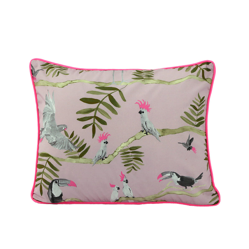Pantanal Decorative Pillowcase - Rose and Greem Toucansn