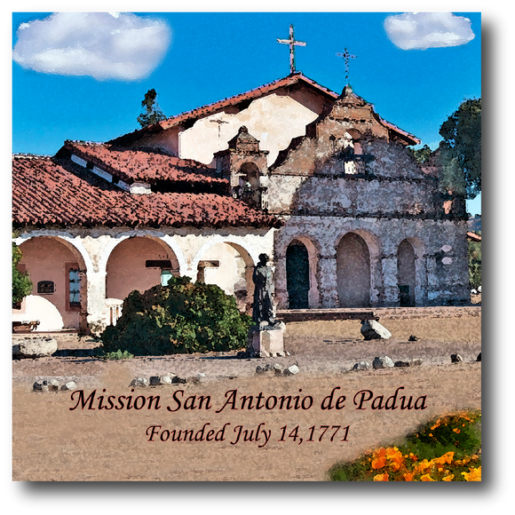 Square ceramic tile with an original image of Mission San Antonio de Padua (San Antonio)