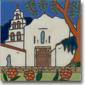 Ceramic tile with original art image of Mission San Diego de Alcala hand painted then kiln fired creating vivid, jewel-like colors. American made, hand crafted tile has a hardboard back making it suitable as a trivet, original wall art or without the backing, several can be combined to form a tile mosaic back splash.