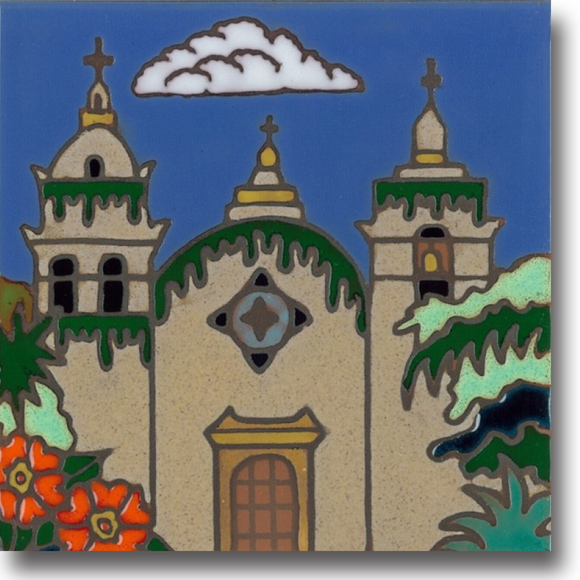 Ceramic tile with original art image of Mission San Carlos Borromeo de Carmelo (Carmel) hand painted & kiln fired creating vivid, jewel-like colors. American made, hand crafted tile has a hardboard back usable as a trivet, original wall art or without the backing, combine several to form a tile mosaic back splash.