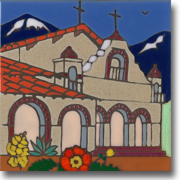 Ceramic tile with original art image of Mission San Antonio de Padua hand painted & kiln fired creating vivid, jewel-like colors. American made, hand crafted tile has a hardboard backing making it suitable as a trivet, original wall art or without the backing,  combine several to form a tile mosaic back splash.