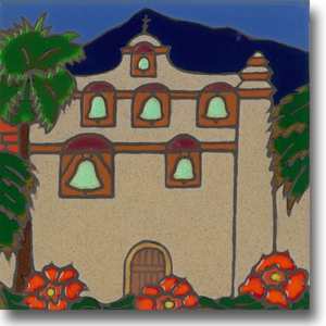 Ceramic tile with original art image of Mission San Gabriel Arcangel hand painted & kiln fired creating vivid, jewel-like colors. American made, hand crafted tile has a hardboard backing making it suitable as a trivet, original wall art or without the backing, several can be combined to form a tile mosaic back splash.