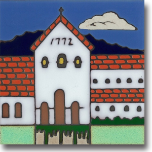 Ceramic tile with original art image of Mission San Luis Obispo de Tolosa hand painted then kiln fired creating vivid, jewel-like colors. American made, hand crafted tile has a hardboard back suitable as a trivet, original wall art or without the backing, several can be combined to form a tile mosaic back splash.