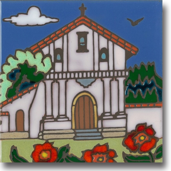 Ceramic tile with original art image of Mission San Francisco de Asis (Dolores) hand painted & kiln fired creating vivid, jewel-like colors. American made, hand crafted tile has a hardboard back making it suitable as a trivet, original wall art or without the backing,  combine several to form a tile mosaic back splash.