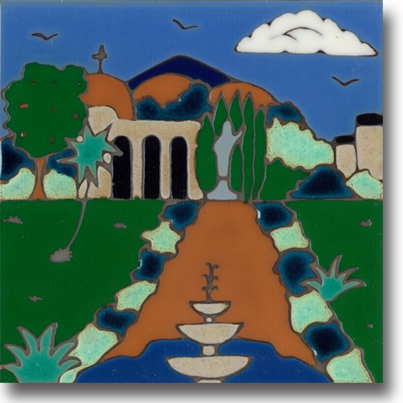 Ceramic tile with original art image of Mission San Juan Capistrano hand painted & kiln fired creating vivid, jewel-like colors. American made, hand crafted tile has a hardboard backing making it suitable as a trivet, original wall art or without the backing, several can be combined to form a tile mosaic back splash.