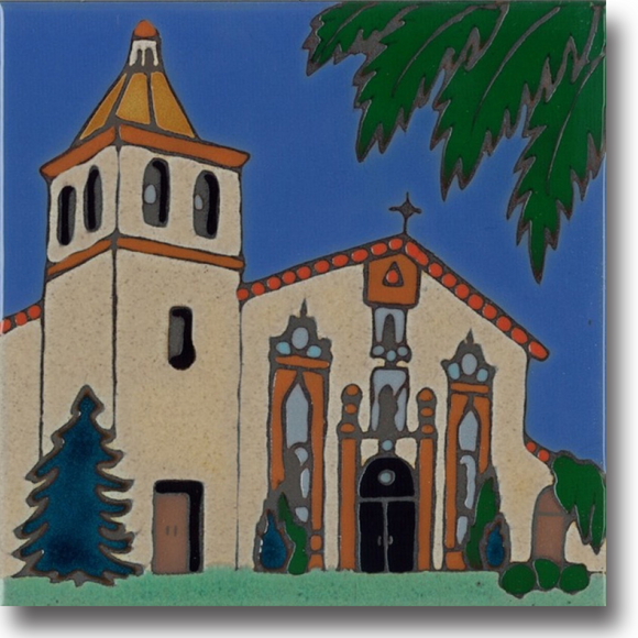Ceramic tile with original art image of Mission Santa Clara de Asis hand painted & kiln fired creating vivid, jewel-like colors. American made, hand crafted tile has a hardboard backing making it suitable as a trivet, original wall art or without the backing,  combine several to form a tile mosaic back splash.
