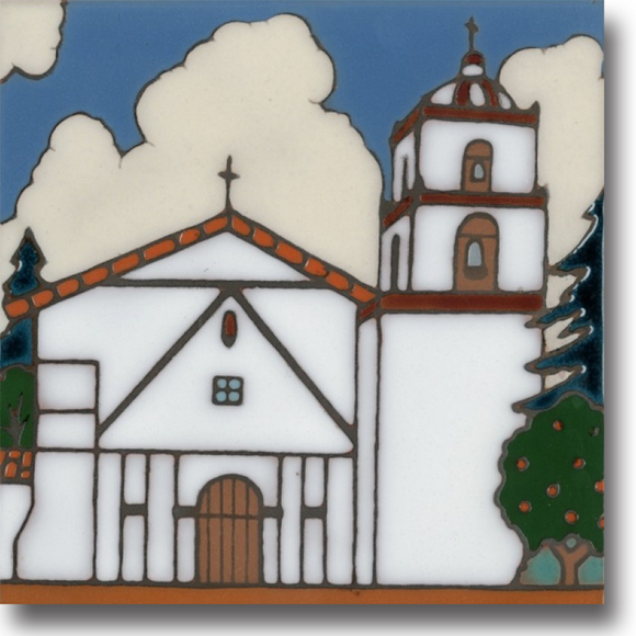 Ceramic tile with original art image of Mission San Buenaventura hand painted then kiln