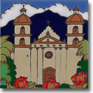Ceramic tile with original art image of Mission Santa Barbara hand painted & kiln fired creating vivid, jewel-like colors. American made, hand crafted tile has a hardboard backing making it suitable as a trivet, original wall art or without the backing,  combine several to form a tile mosaic back splash.
